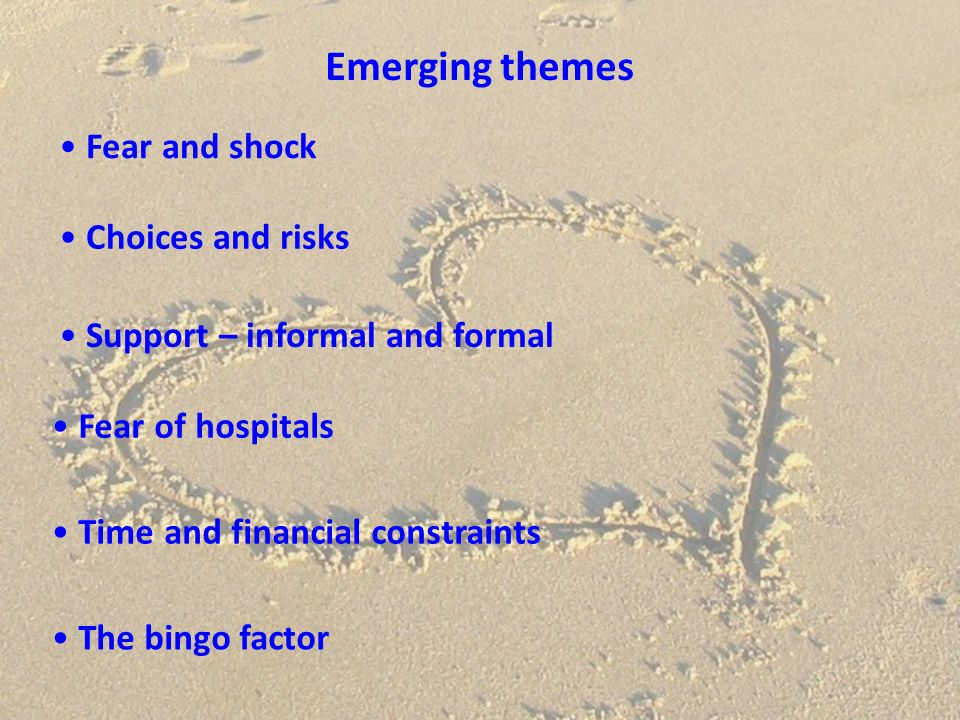 Emerging themes Fear and shock Choices and risks