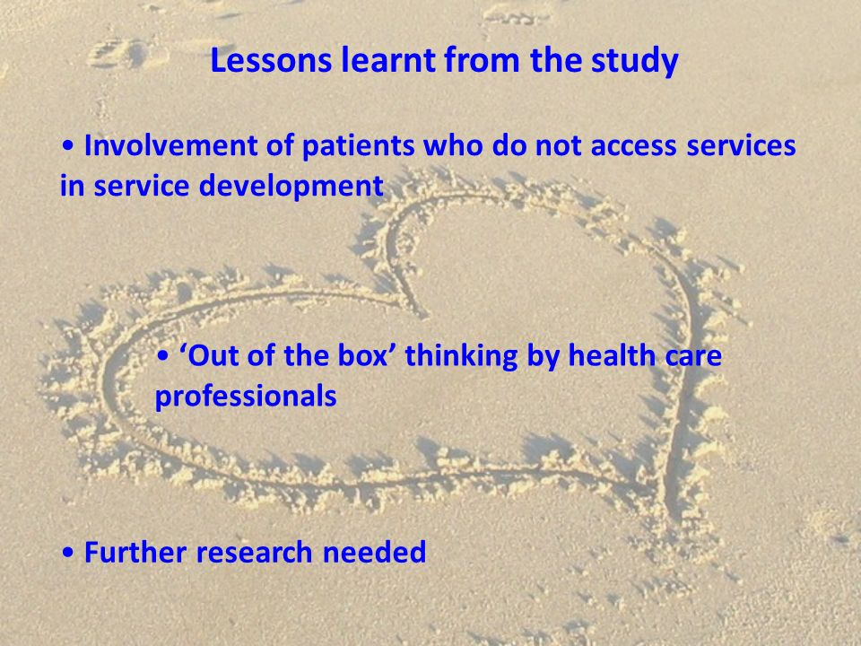 Lessons learnt from the study