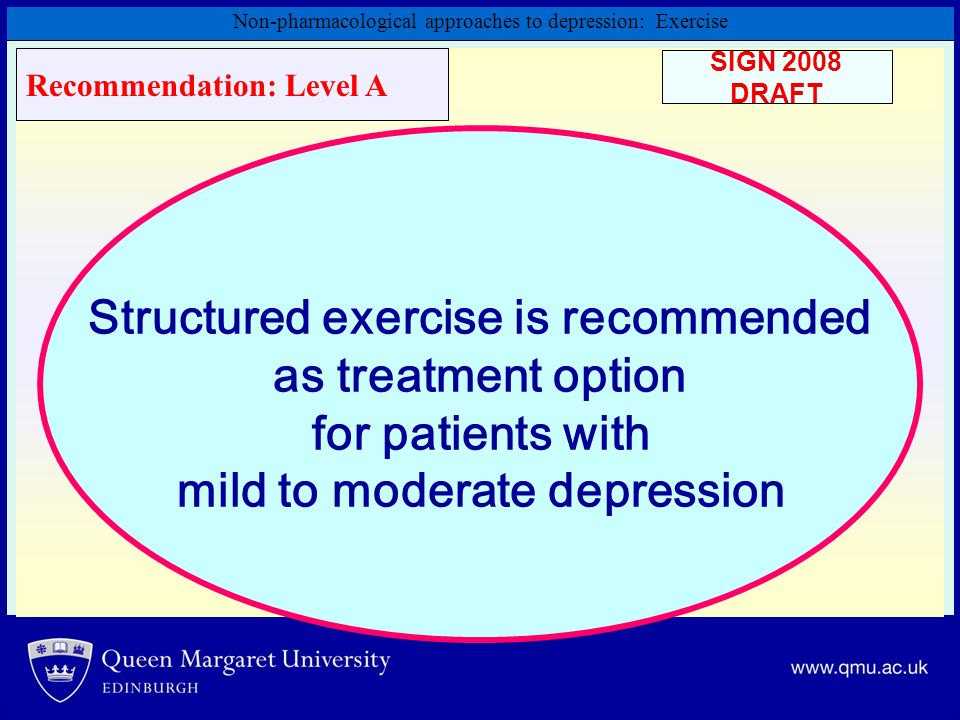 Structured exercise is recommended mild to moderate depression