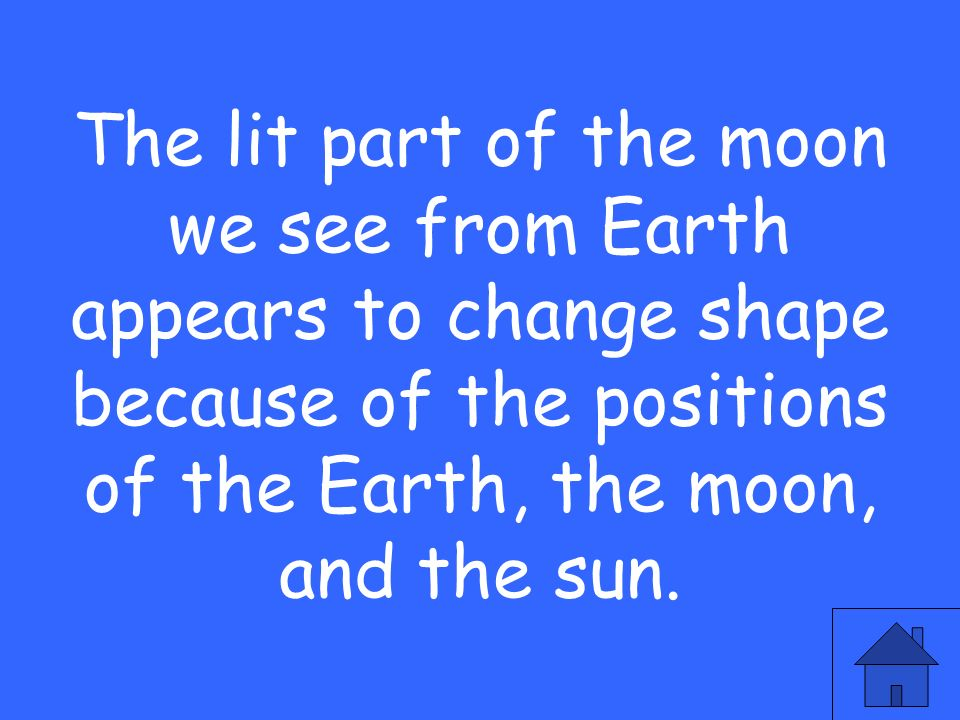 The lit part of the moon we see from Earth appears to change shape because of the positions of the Earth, the moon, and the sun.