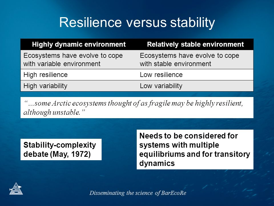 Resilience versus stability