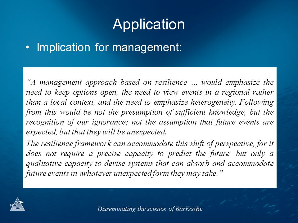 Application Implication for management: