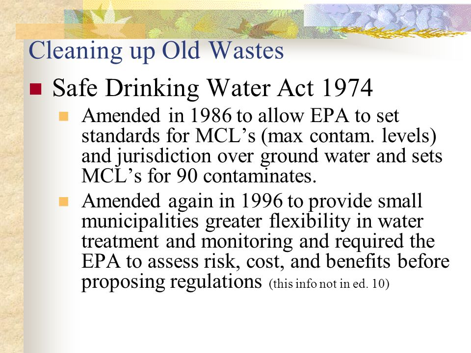 safe drinking water act Federal safe drinking water act defined and explained legislative act that sets safe drinking water standards for all states and water supplies.