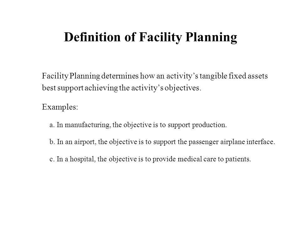 Captivating Definition Of Facility Planning