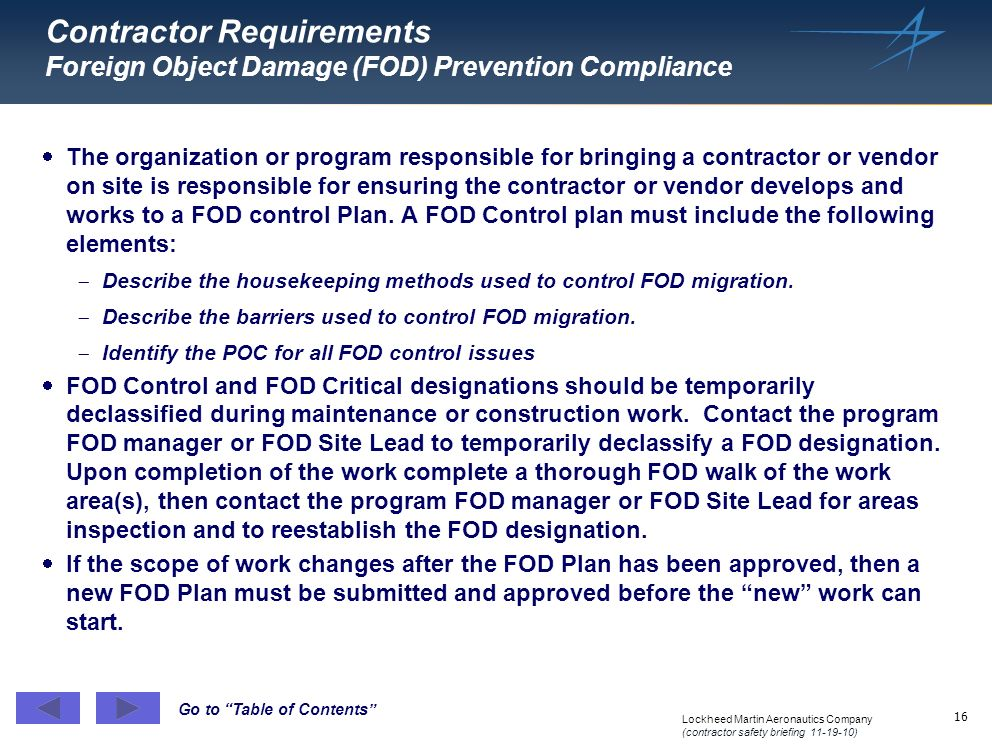 Contractor Requirements Foreign Object Damage (FOD) Prevention Compliance