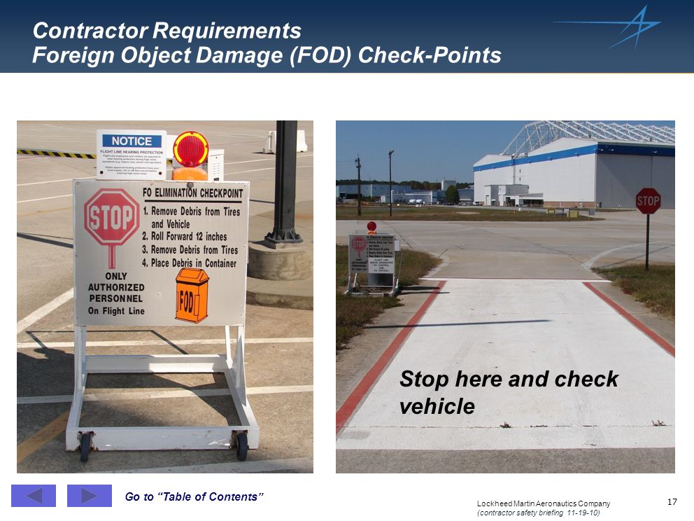 Contractor Requirements Foreign Object Damage (FOD) Check-Points