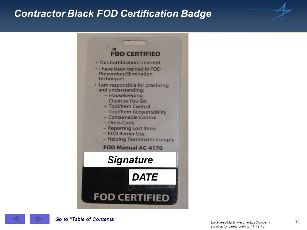Contractor Black FOD Certification Badge