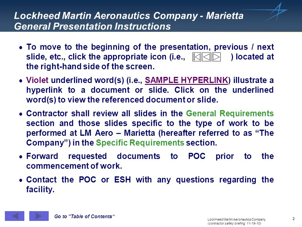 Lockheed Martin Aeronautics Company - Marietta General Presentation Instructions