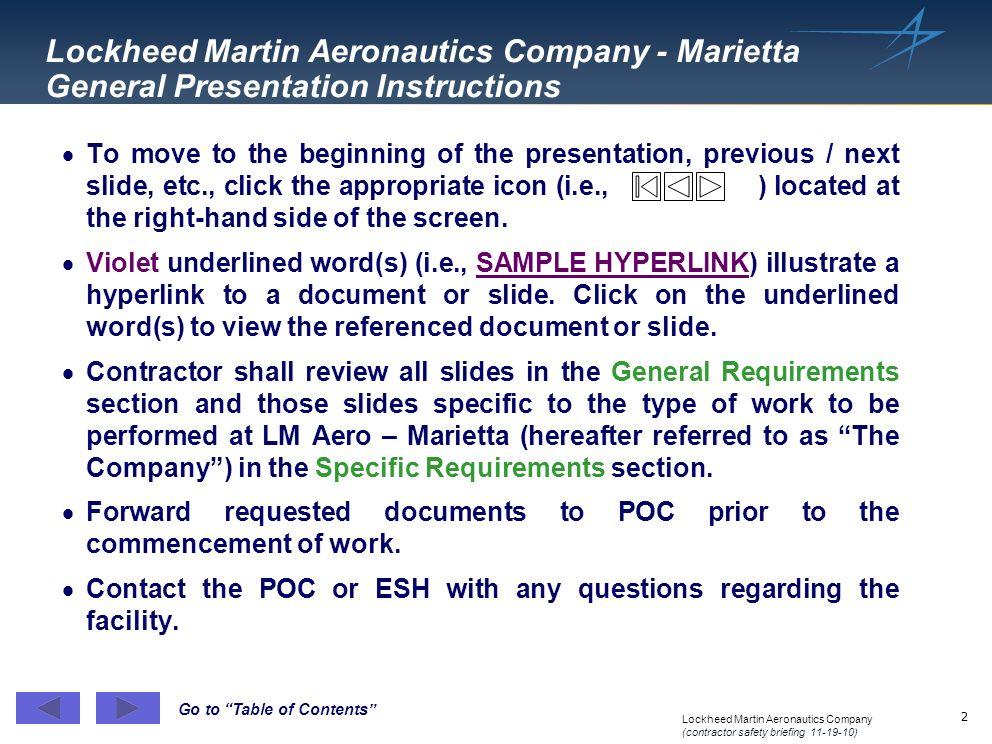 Lockheed Martin Aeronautics Company - Marietta General Presentation Instructions
