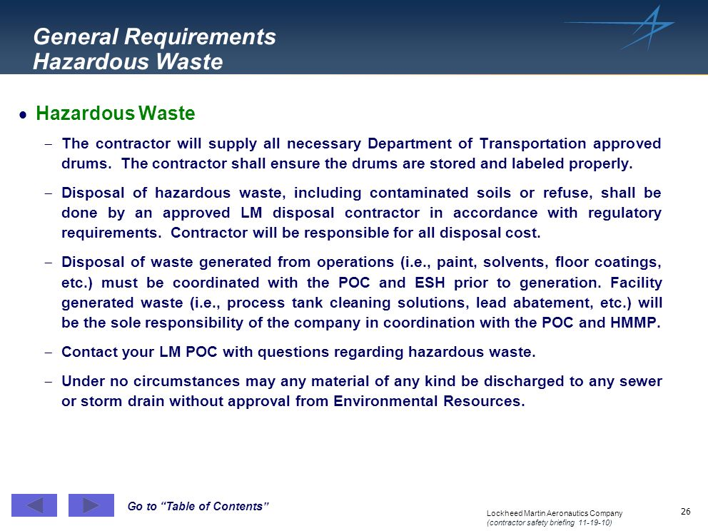 General Requirements Hazardous Waste