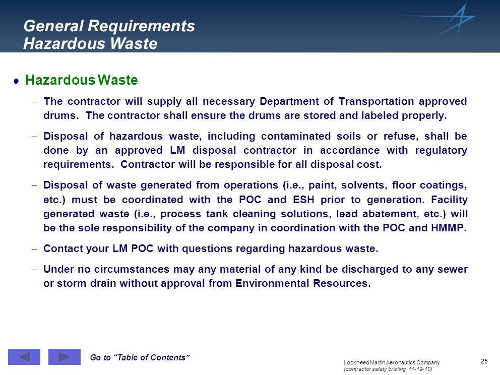 General Requirements Hazardous Waste