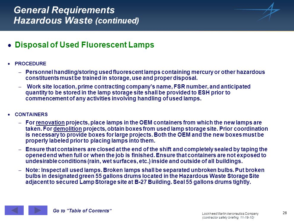 General Requirements Hazardous Waste (continued)