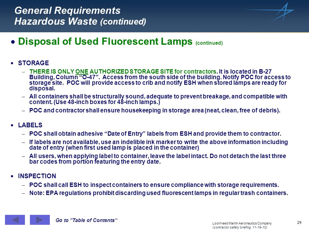 General Requirements Hazardous Waste (continued)