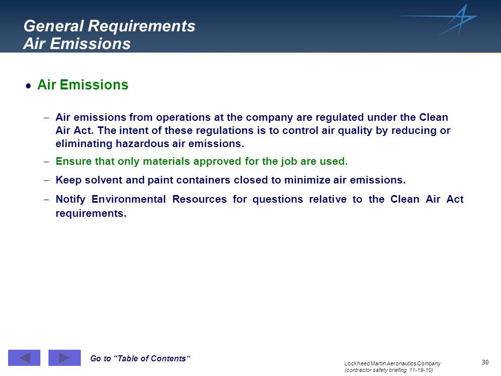 General Requirements Air Emissions