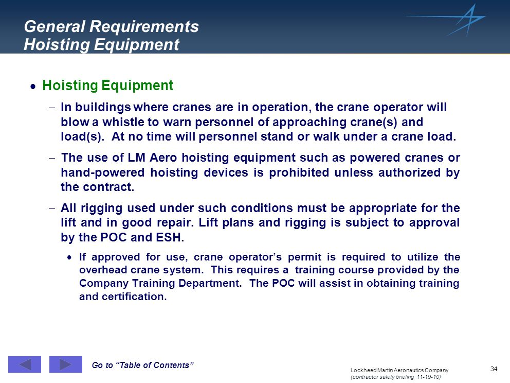 General Requirements Hoisting Equipment