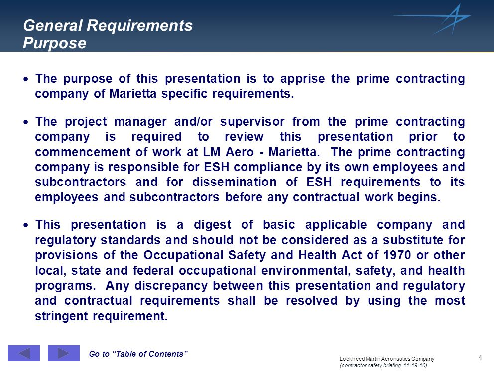 General Requirements Purpose