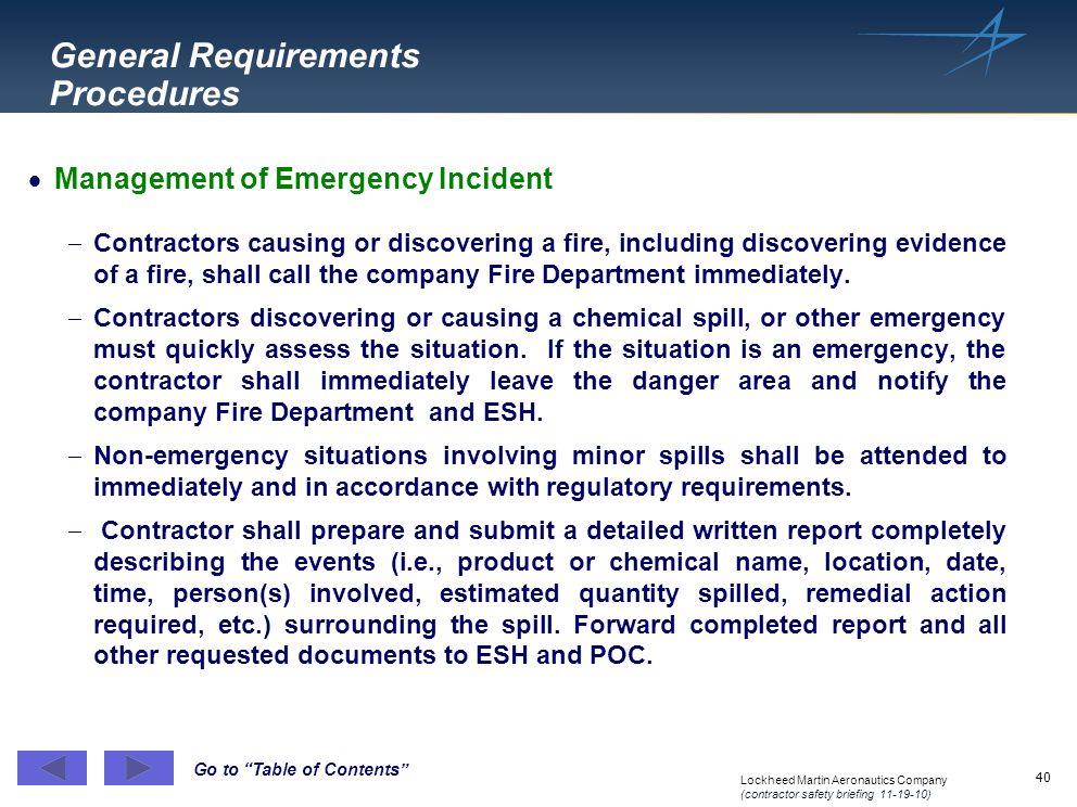 General Requirements Procedures