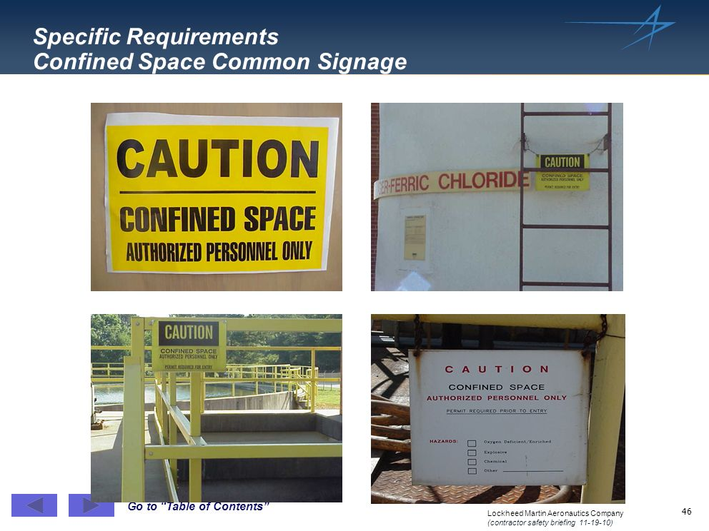 Specific Requirements Confined Space Common Signage