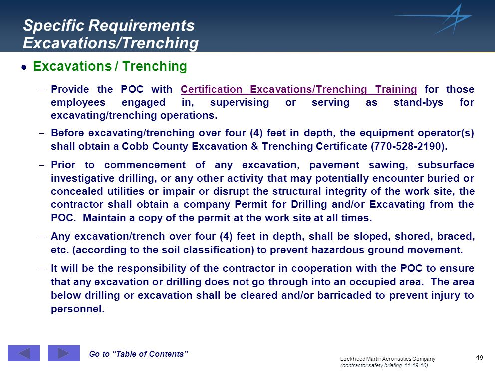Specific Requirements Excavations/Trenching