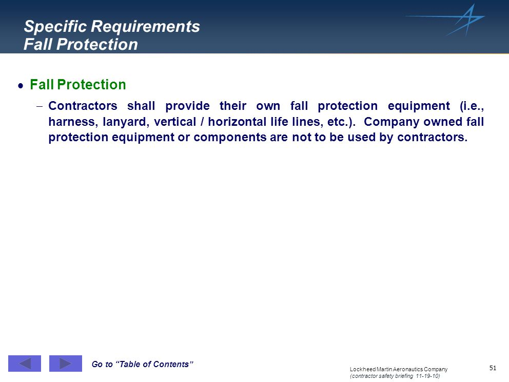 Specific Requirements Fall Protection