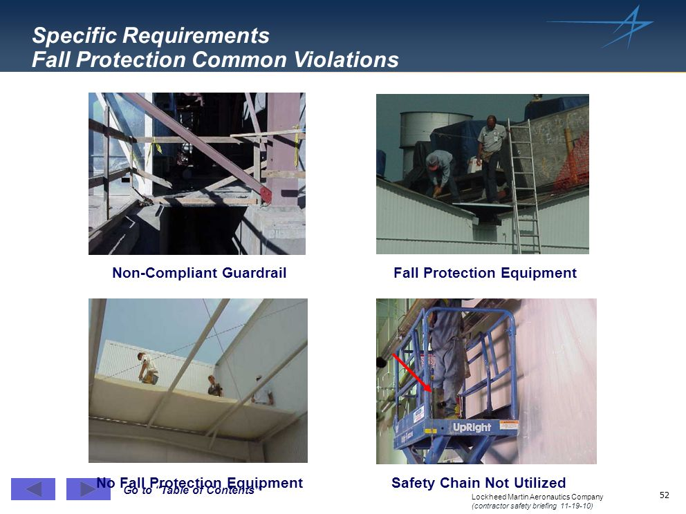 Specific Requirements Fall Protection Common Violations