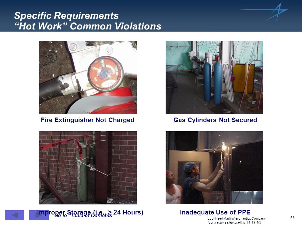 Specific Requirements Hot Work Common Violations