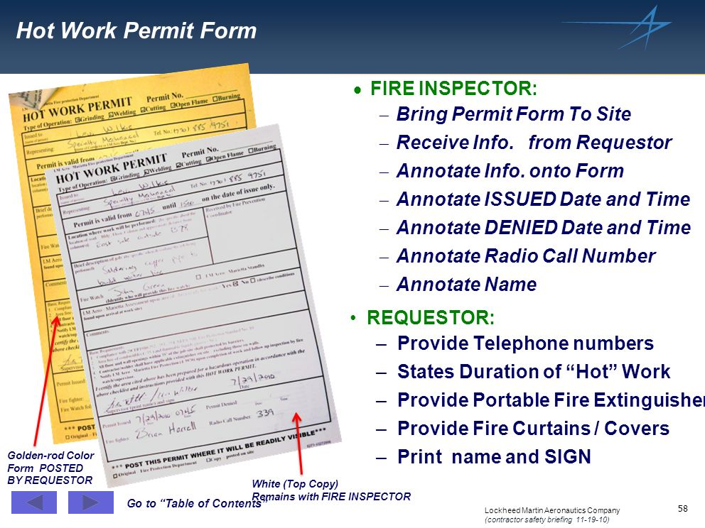 Hot Work Permit Form FIRE INSPECTOR: Bring Permit Form To Site