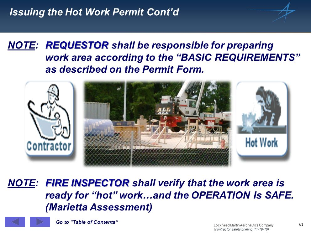 Issuing the Hot Work Permit Cont'd