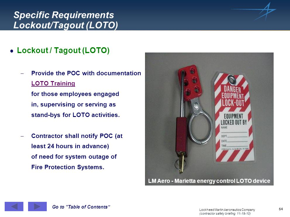 Specific Requirements Lockout/Tagout (LOTO)
