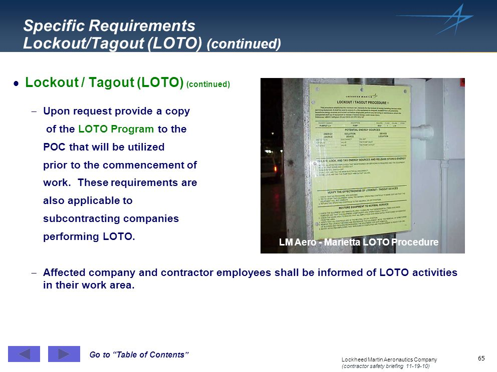 Specific Requirements Lockout/Tagout (LOTO) (continued)