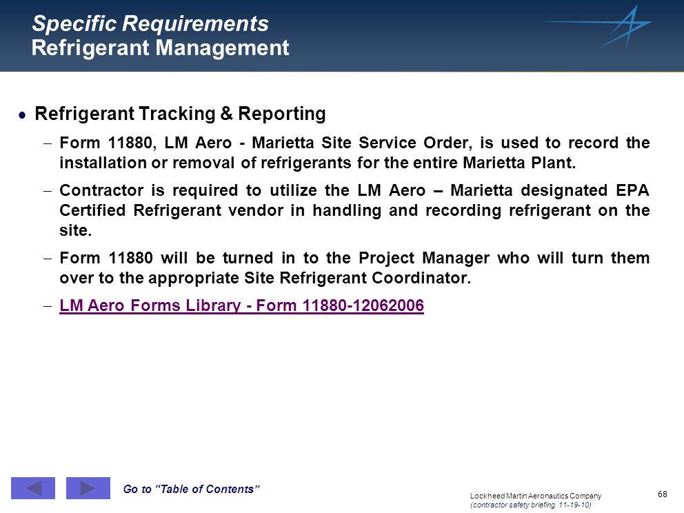 Specific Requirements Refrigerant Management