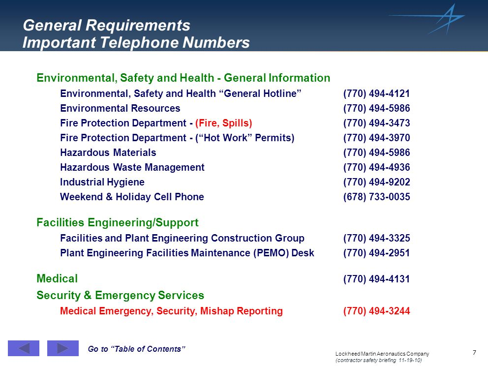 General Requirements Important Telephone Numbers
