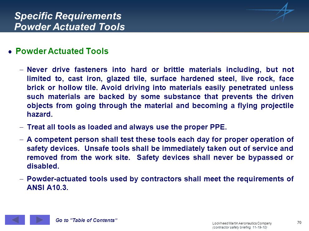 Specific Requirements Powder Actuated Tools