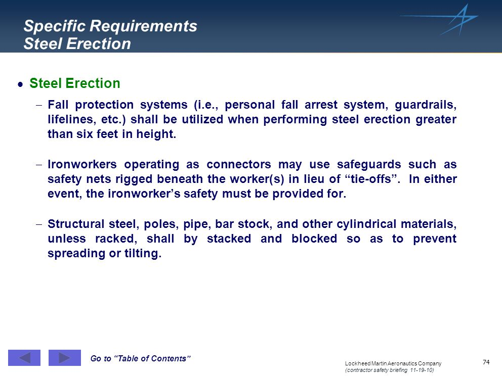 Specific Requirements Steel Erection