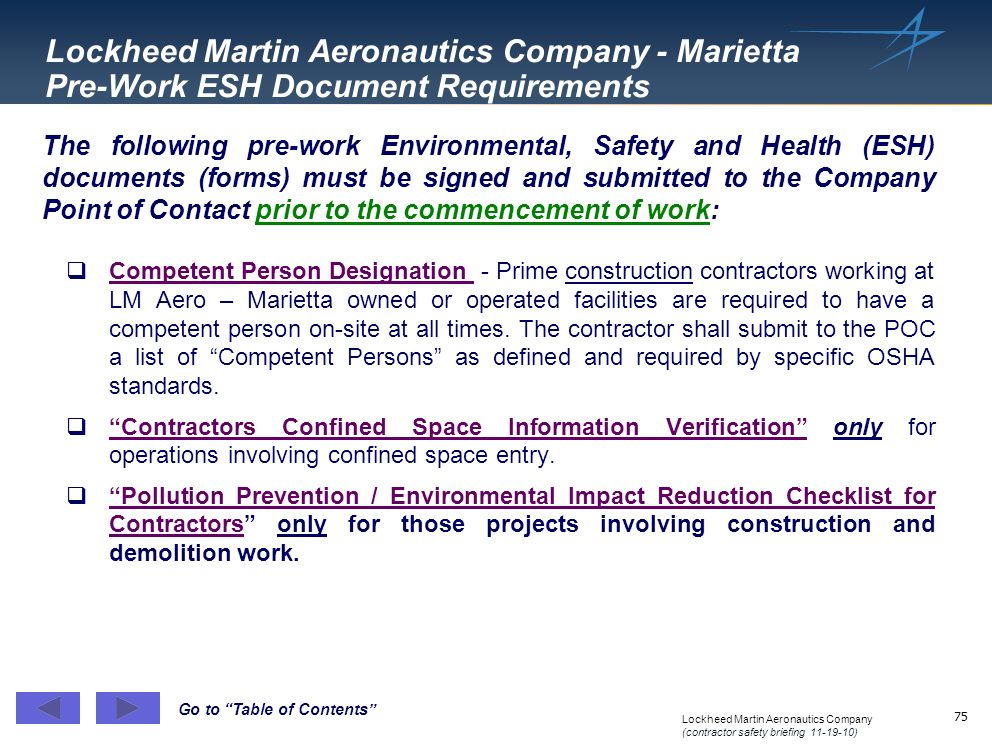 Lockheed Martin Aeronautics Company - Marietta Pre-Work ESH Document Requirements
