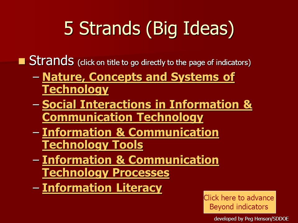 5 Strands (Big Ideas) Strands (click on title to go directly to the page of indicators) Nature, Concepts and Systems of Technology.