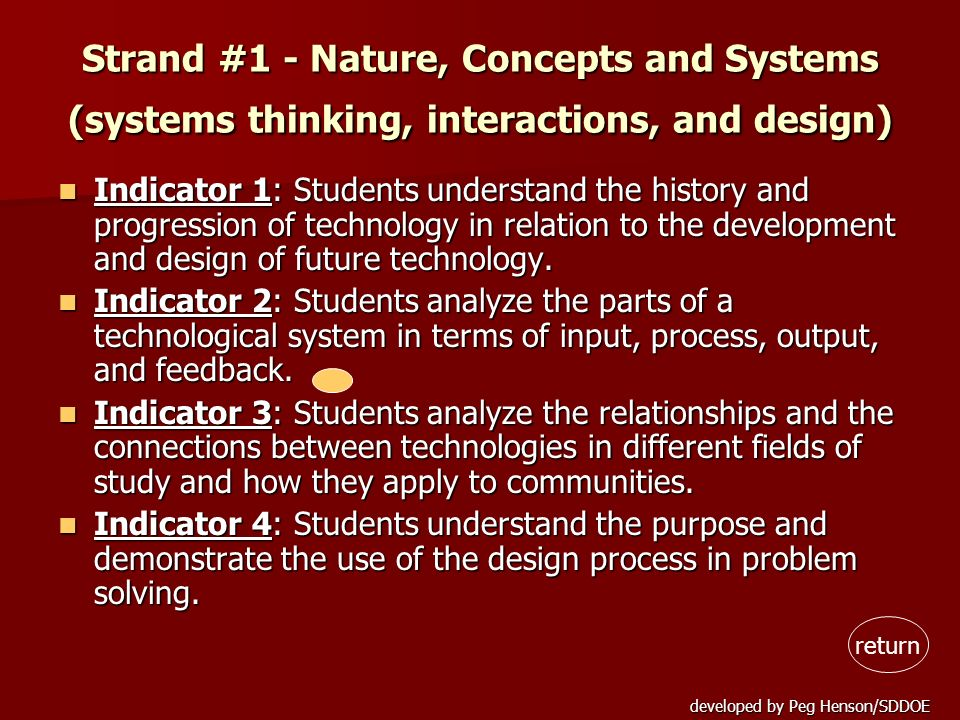 Strand #1 - Nature, Concepts and Systems (systems thinking, interactions, and design)
