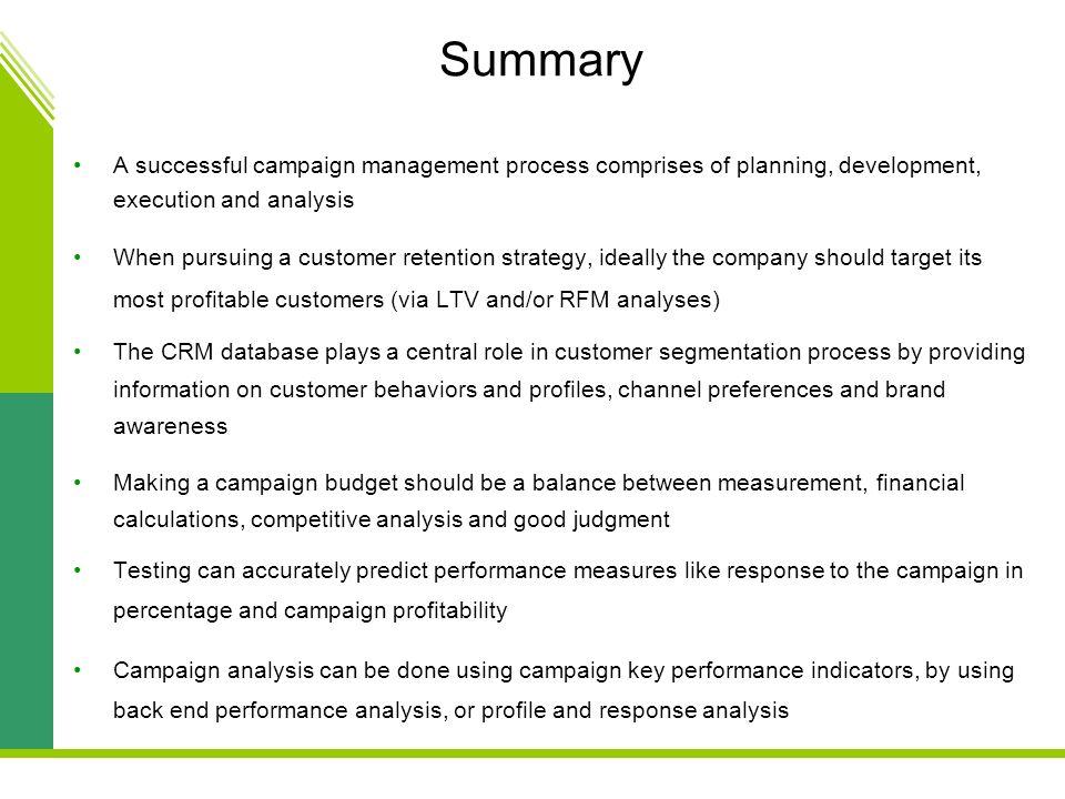 customer relationship management summary