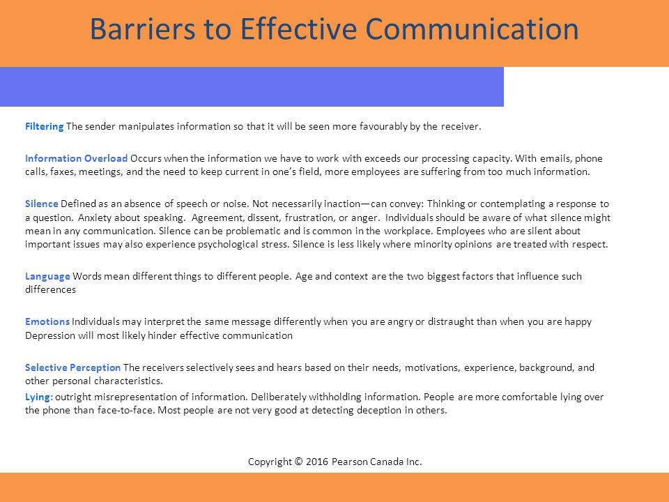 issues and barriers to effective communication Barriers to effective communication you normally listen to her problems and do what you can to help her, but you are more worried about your son's illness.
