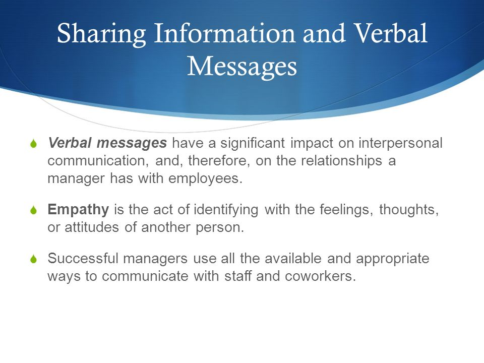 Sharing Information and Verbal Messages