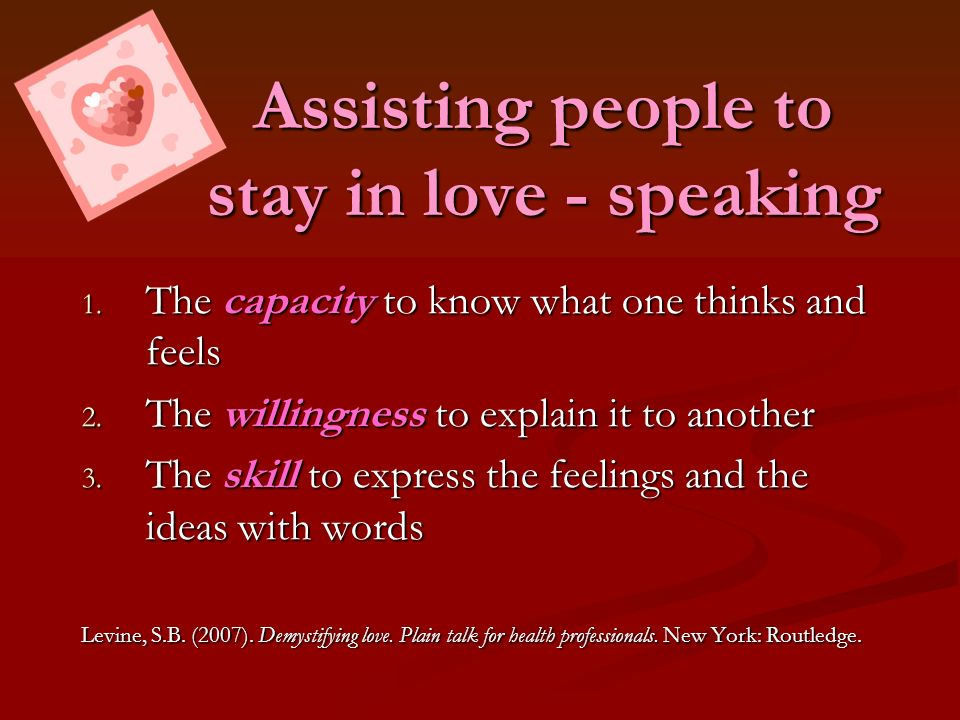 Assisting people to stay in love - speaking