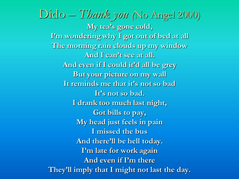 Dido – Thank you (No Angel 2000)