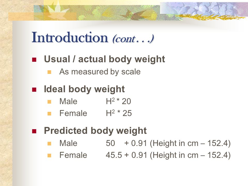 predicted body weight definition glossary