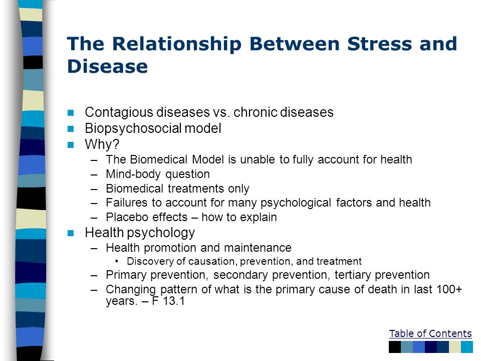 what is the relationship between stress and illness Common sense tells us that stress makes us prone to illness, but proving any connection has been virtually impossible until now, perhaps while this work confirmed the association between stress and illness, it left cohen little wiser about the mediating influence part of the explanation is quite likely.