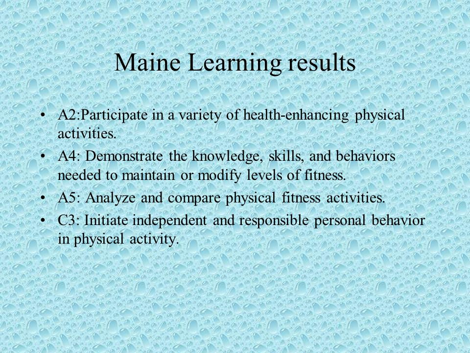 Maine Learning results