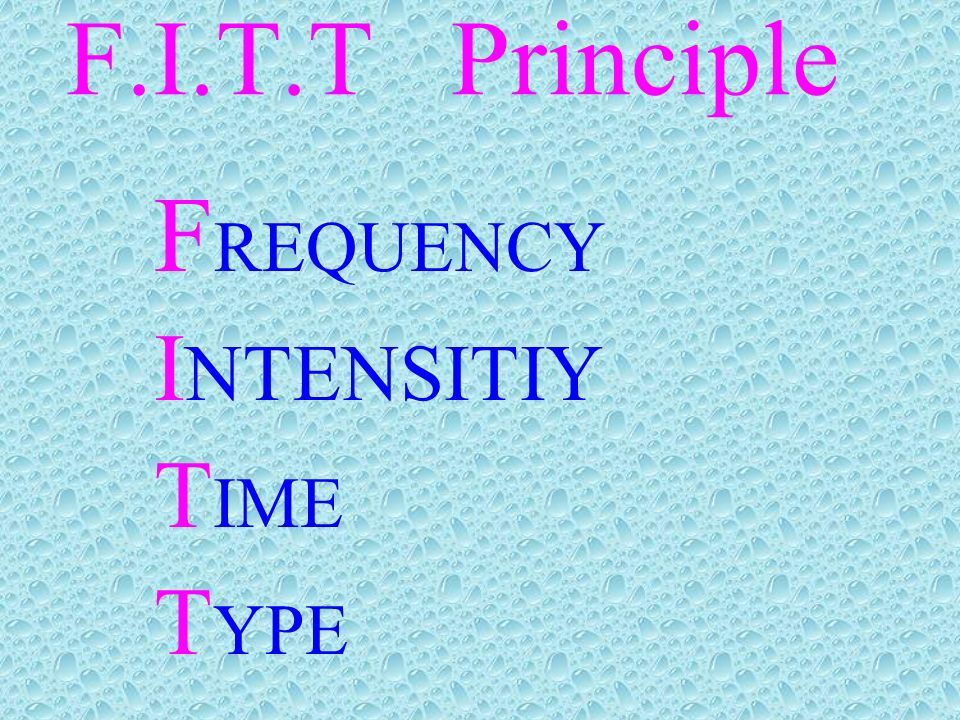 F.I.T.T Principle FREQUENCY INTENSITIY TIME TYPE