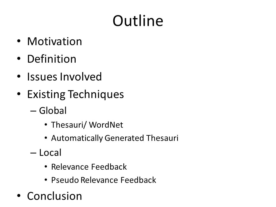 outline for a definition essay