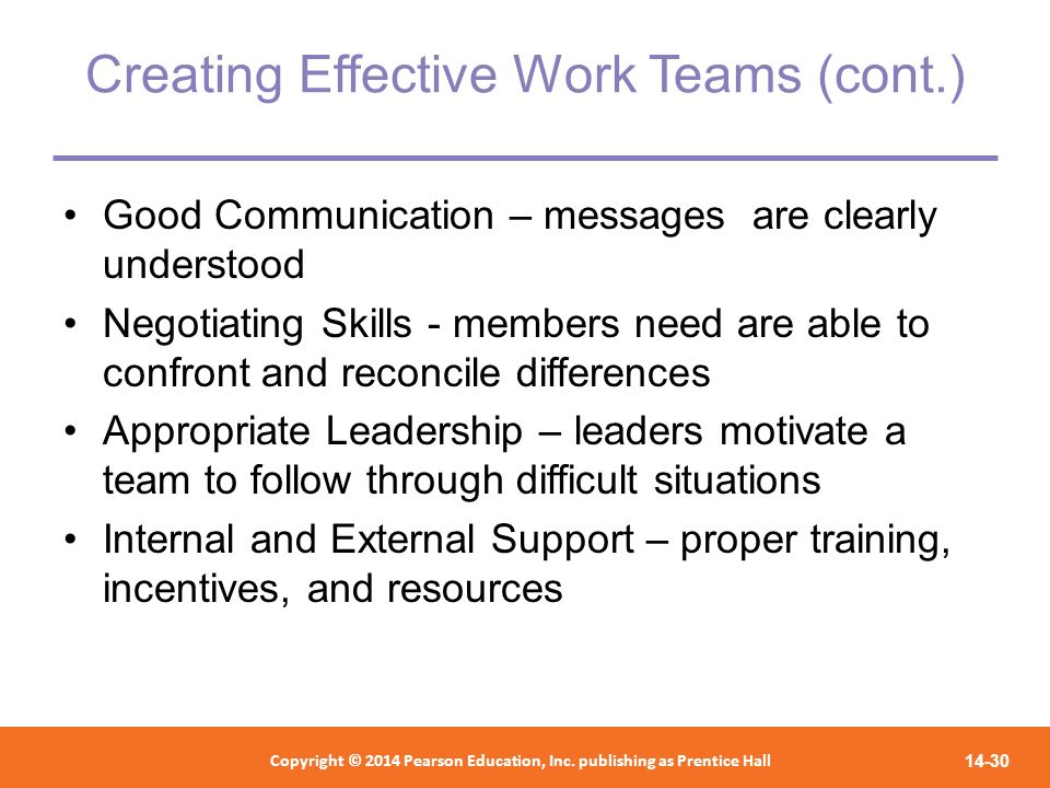Creating Effective Work Teams (cont.)