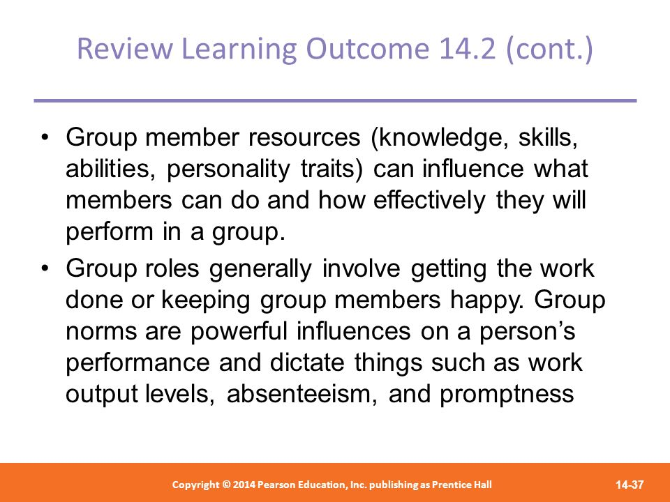 Review Learning Outcome 14.2 (cont.)
