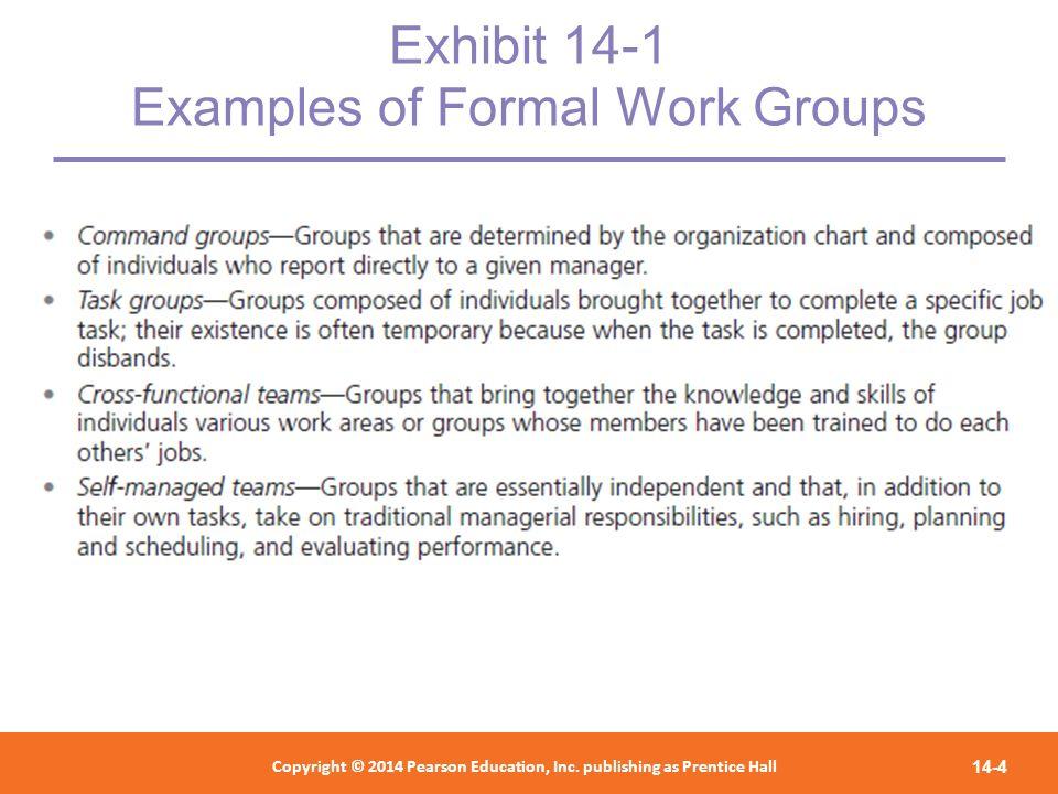 Exhibit 14-1 Examples of Formal Work Groups